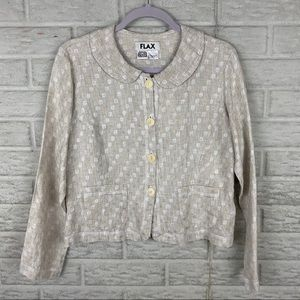 FLAX Women 100% Linen Cardigan Size Petite